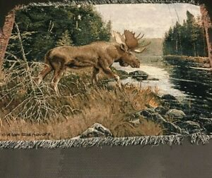 Moose Woven Tapestry Throw Blanket