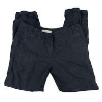 Ann Taylor LOFT 2 Marisa Trouser Career Work Pants Linen Cuffed Pocket Black