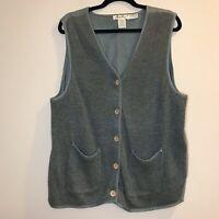 Eddie Bauer VTG 100% Linen Vest Olive Green Women's Size Large L