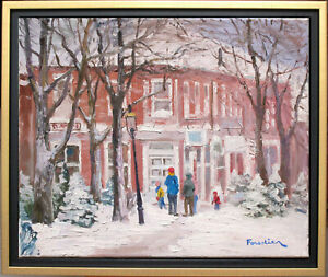 SNOW IN NANTUCKET~LISTED ARTIST~ORIGINAL OIL PAINTING BY MARC FORESTIER