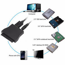 """USB 3.0 to SATA Converter Adapter Cable for 2.5"""" 3.5"""" HDD SSD + 12V Power Supply"""