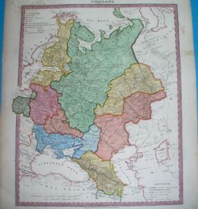 1848 ORIGINAL MAP RUSSIA UKRAINE POLAND LITHUANIA ESTONIA FINLAND GEORGIA MOSCOW