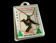 Australian Made Flying Australia Kangaroo Gold Plated Opal Necklace Pendant