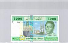 TCHAD ETATS DE L'AFRIQUE CENTRALE 5000 FRANCS 2002 N° 689711000 PICK 609C