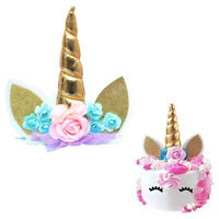 1pc Handmade Unicorn Birthday Cake Toppers Set Unicorn Horn Ears And Flowers Kit