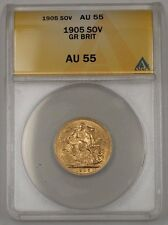 1905 Great Britain One Sovereign Gold Coin ANACS AU-55