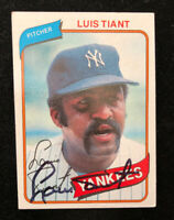 LUIS TIANT 1980 TOPPS AUTOGRAPHED SIGNED AUTO BASEBALL CARD 35 YANKEES