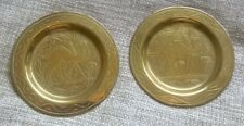 vintage 2 lot  old Egyptian camel brass hand etched pin trays eastern