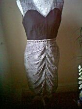 Pure Silk with Linen detailed Black /Silver Olivia Rubin Fitted Dress sz10.