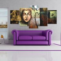 Buddha Split Painting 5 Frames Wall Art Panels for Drawing Room #011- HKTPIC-UK