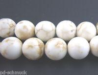 PD: 1 Strang Rund Türkis Howlith Pereln Beads Weiß 8mm