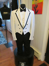 MENS VINTAGE WHITE BLACK TRIM NOTCH LAPEL TAIL TUXEDO LORD WEST 44R 4 PCS T-103