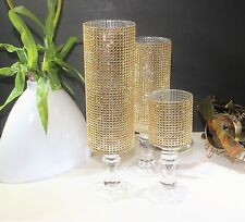 3 Set Pair Candle Glasses Wedding Centerpieces Gold Tall Pillar Crystal Holders