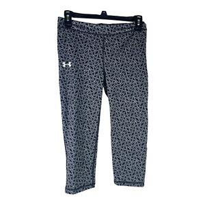 Under Armour Womens Size 26.5 Black Grey Geometric Workout Cropped Capri Pants