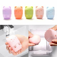 Cute Cat Beauty Powder Puff Holder Sponge Makeup Egg Drying Case Portable