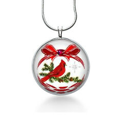 Christmas Pendant,red cardinal bird,red necklace,fashion jewelry,silver necklace