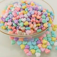 10mm HEART BEADS ACRYLIC PASTEL MIX COLOR CRAFT KID DIY DECORATIONS 100 PCS