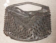 215 36 Handtasche mit Nieten und Ösen Kunstleder schwarz grau used Shopper NEU!!