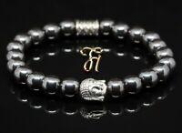 Hämatit / Hematit Armband Bracelet Perlenarmband Buddhakopf silber 8mm