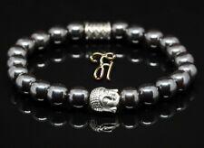 Hématite / Bracelet de Perles Tête Bouddha Argent 8mm