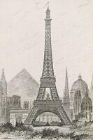 WORLD MONUMENTS - ART POSTER - 24x36 EIFFEL TOWER PYRAMIDS 14774