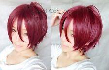 free shipping!Rin Matsuoka Short Wine Red Straight Coplay Anime Wig 001ZAL
