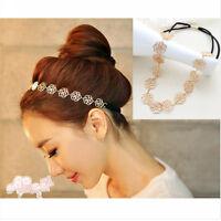 Women's Lovely Metallic Hollow Rose Flower Elastic Hair Band Headband head piece