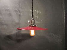 Vintage Industrial Hanging Light w/ Flat Lamp Shade - Machine Age Minimalist