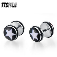 TTstyle 10mm Clear Epoxy White Star Stainless Steel Ear Plug Earrings A Pair