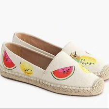 NEW J. Crew Canvas Espadrilles With Embroidered Fruits, Size 10, H9793