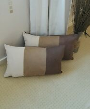 "2 x Brown tan cream faux suede oblong Bolster   22in x 12""  Cushion Covers"