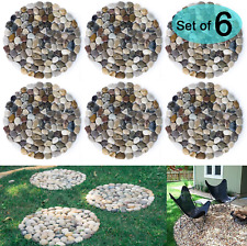 River Rock Stepping Stones Pavers Outdoor for Garden Set of 6 Roundness