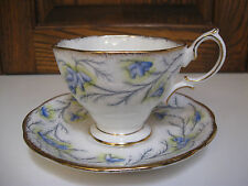 Vintage Royal Albert 'Heather Bell' Blue Teacup & Saucer ~ Gold Trim ~ England