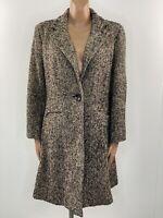 PER UNA Brown Herringbone Tweed Wool Coat UK 18