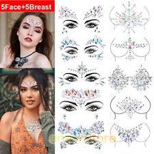 10pcs Rhinestone Body Jewelry Sticker Mermaid Face Crystal Tattoo Breast Jewels