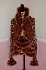 Amazing NEIMAN MARCUS Silver Tipped Fox Fur Knitted Sweater/Jacket Brown L