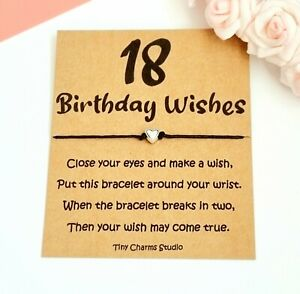 18th Birthday Wish Bracelet Gift For Daughter Niece Sister Son Party Bag Filler