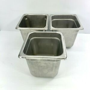 3 Carlisle DuraPan Stainless Steam Table Pans 1/6 Size 6-Inch 608166 Used