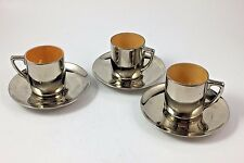 3 B E Hunton Demitasse Cups And Saucers Silver Enameling
