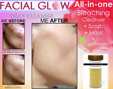 FACIAL GLOW NATURAL DAILY CLEANSER SCRUB & MASK ACNE SCAR LIGHTENING SOAP