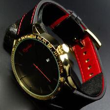 Psychoo Herren Armbanduhr Schwarz Gold Datumsanzeige Klassisch Elegant Sportlich