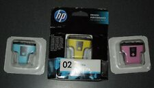 3 Genuine HP 02 Light Cyan, Yellow, Lt Magenta Ink Cartridge Sealed Expired date