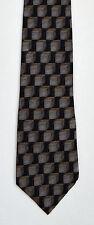 Men's New Silk Neck Tie, Classic, Wide, Black Gray cubes design by Bill Blass
