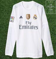 Real Madrid Home Shirt - Official adidas Long Sleeved Football Jersey - Mens