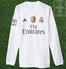 Real Madrid Home Shirt - Official adidas Long Sleeved Football Jersey - Mens