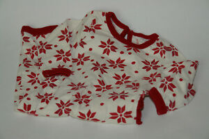 Baby Girl's Burt's Bees Baby Bodysuit Red Ivory Poinsettia Print Organic 3-6 Mos