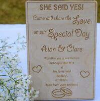 Wooden Wedding Invitations - Personalised and Engraved - Made to Order