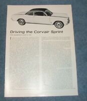 """1962 Fitch Chevy Corvair Sprint Vintage Info Article """"Driving the Corvair Sprint"""