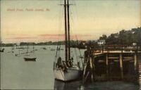 Peaks Island ME Dock Boat Shore c1910 Postcard