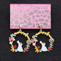 Women's Enamel Crystal Flower Rabbit Round Earbob Betsey Johnson Dangle Earrings